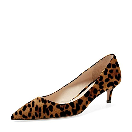 YDN Women Low Kitten Heel Pumps Pointed Toe Dress Shoes for Office Lady Soft Suede