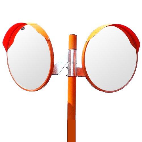 ホップ アクリル製 道路反射鏡 2面鏡 支柱(ポール) セット 丸型60cm φ600 HPLA-丸600WPオレンジ 日本製 道路反射鏡協会認定商品   B01J3284KI
