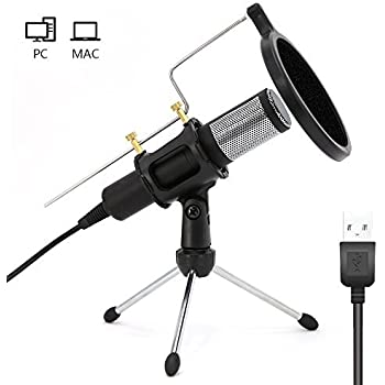 home studio usb condenser microphone with mic stand dual layer acoustic popfilter. Black Bedroom Furniture Sets. Home Design Ideas