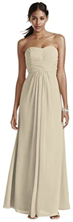 283fbbe3f337 David's Bridal Long Strapless Chiffon Bridesmaid Dress and Pleated Bodice  Style F15555, Champagne, ...