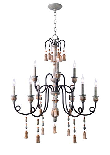 (Kenroy Home 93869WH 9 Light Rustic Chandelier, Weathered White Finish with Oil Rubbed Bronze Arms)