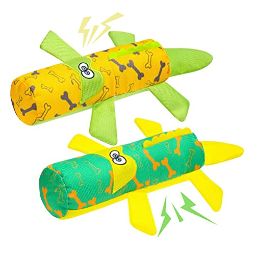 BINGPET Dog Water Floating Toys for Pool, 2 Pack Crocodile Shape Interactive Dog Chew Squeaky Toys, Fit for Small Medium Dogs Puppies