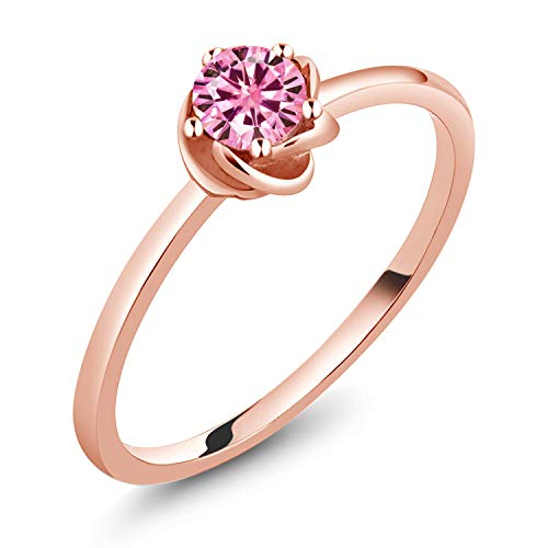 (Gem Stone King 10K Rose Gold Solitaire Ring Pink Round Created Moissanite 0.50ct DEW (Size 7))