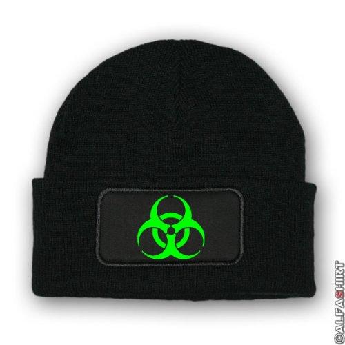 Mütze / Beenie - Biohazard Biogefährdung Gefahr Gefahrenzeichen Warnzeichen Seuche Winter Wollmütze #7010m