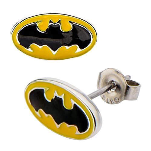 Earrings DC Comics Batman Yellow Black Stainless Steel Post Classic Batman Stud Earrings