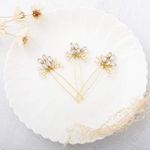 CanB Wedding Bridal Hair Pins Rhinestone Decorative Hair Pin Hair Accessories Jewelry for Brides and Bridemaids Pack of 3 (Gold) ()