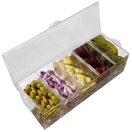 Evelots Chilled Condiment Server W/ 5 Compartments,Removable Containers,Ice Tray ()