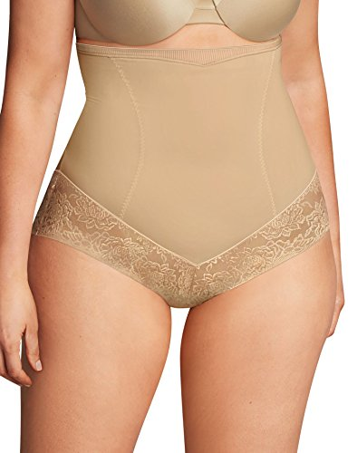 Flexees Women's Maidenform Shapewar Curvy Firm Foundations Hi Waist Brief, Body Beige, X Large