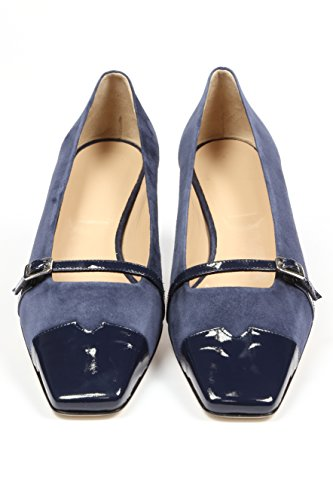 Chaussure élégante à talon 3,5 cm, bleu indigo, en velours et cuir vernis, bout légèrement carré, sangle de décoration avec boucle, Conçu et produit en Italie tailles grandes 42 43 44 45