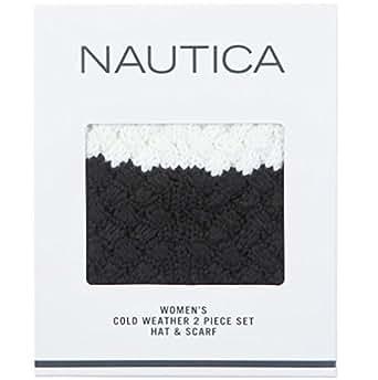 Nautica Women Color Block Winter Knit Scarf & Hat Gift Set