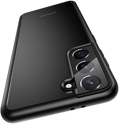 Meifigno Military Grade Protective Case Designed for Samsung Galaxy S21 Case 5G 6.2 Inch Shockproof Hard Plastic Back Soft Bumper Case Matte Black