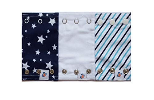 Bodysuit Extenders 3 Different Size Snaps, Blue Stripes, Navy Stars, White
