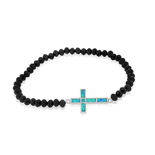 925 Sterling Silver Simulated Onyx Turquoise-Tone Opal Latin Cross Stretch Bracelet