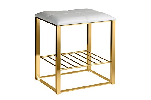 Backless Vanity Stool Bench, Brass Metal Legs, Leather Seat and Storage Shelf (White-Gold) by W-Luxury
