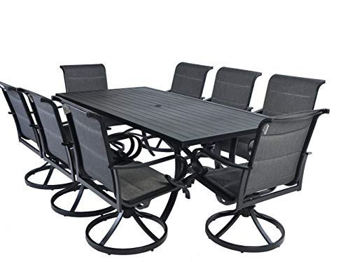 Pebble Lane Living All Weather Rust Proof Outdoor 9 Piece Powder Coated Aluminum Patio Dining Set, 1 Slat Top Dining Table & 8 Swivel Rocking Padded Sling Dining Arm Chairs, Black (Black Set Dining Piece 9 Patio)