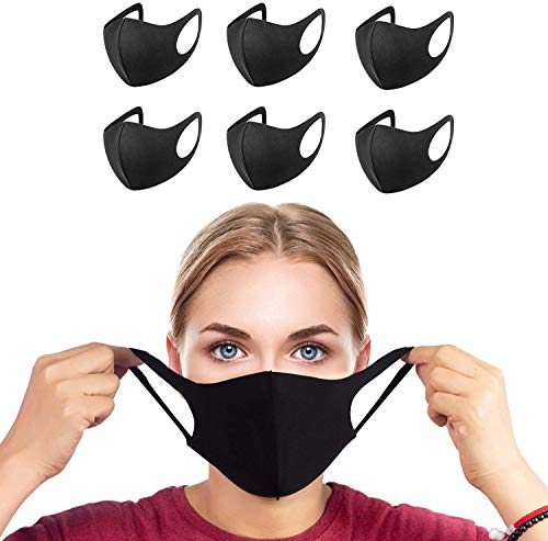 YUSONGIRL Face Reusable Protection 6 Pack Fashion Unisex Washable Reusable Black Cotton Mouth Face Protection from Dust Pollen Pet Dander Fashionable Anti-Smog for Outdoor Activities (Black) (Black)