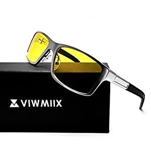 HD Night Vision Glasses for Driving Cycling Polarized Anti-glare Yellow Lenses UV400 Sunglasses for Men (Silver)