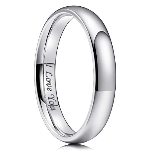(King Will Basic 4mm Stainless Steel Ring Original Color Full High Polished with Laser Etched I Love You 12)