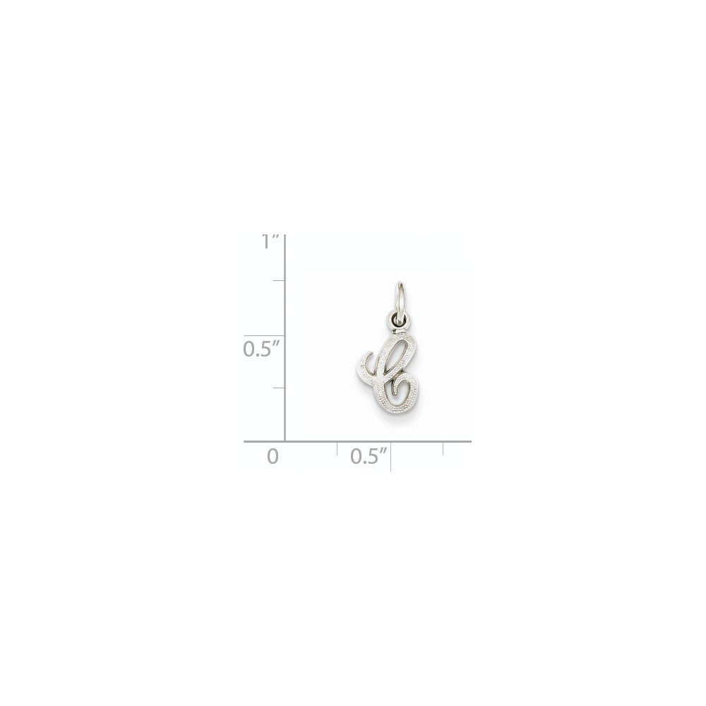 14K White Gold Casted Initial C Charm