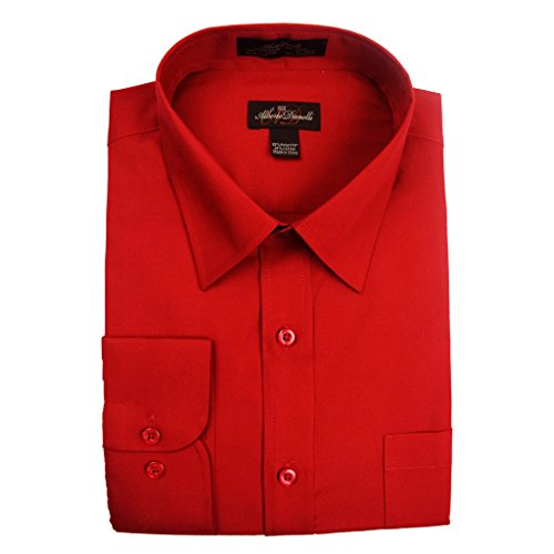 Paisley Taupe Collar (Alberto Danelli Men's Solid Long Sleeve Dress Shirt, Scarlet, XLarge / 17-17.5