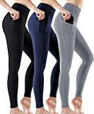 ATHLIO High Waist Yoga Pants with Pockets, Tummy Control Workout Leggings, Non See-Through Running Tights, Unique 3pack(ylp38) - Black/Navy/Stone, Medium