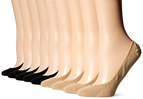 HUE Women's Classic Low Cut Liner Socks with Silicone Tab-8 Pair Pack, black/nude One Size