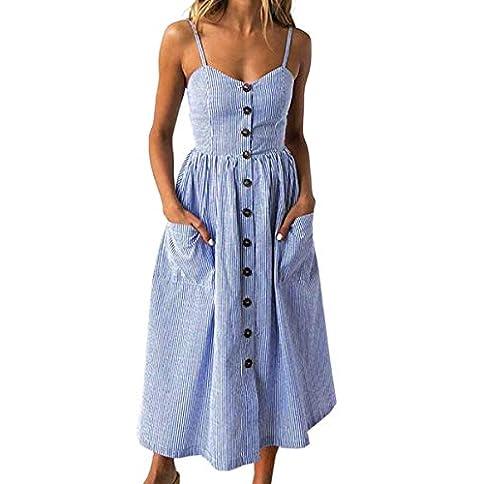 - 41A1R oB42L - Angashion Women's Dresses-Summer Floral Bohemian Spaghetti Strap Button Down Swing Midi Dress with Pockets