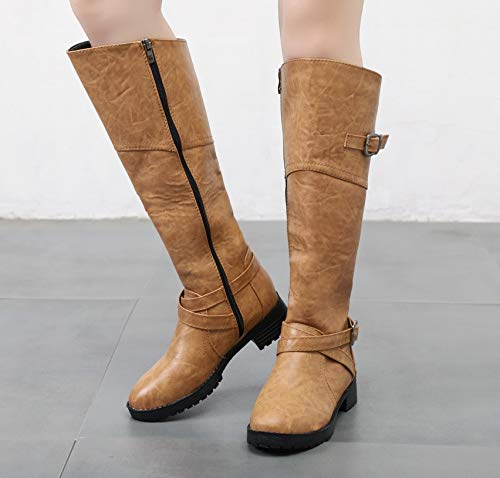 Europäischen Hohe Frauen Große Winter Herbst Und 2018 Stiefel brown Martin Stiefel LIANGXIE Dark Amerikanischen Und Größe Stiefel p1q4wX