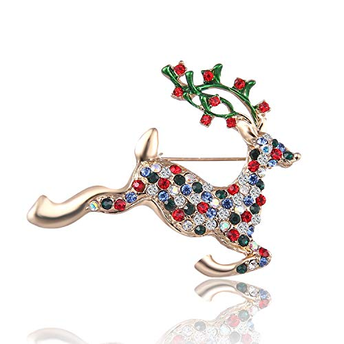 - AILUOR Christmas Brooch Pin Set, 12pcs Women Girl Cute Crystal Enamel Christmas Jewelry with Red Reindeer White Candy Cane Christmas Tree Wreath Snowman Santa Stocking Gift Box Pins Set (E-1)