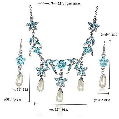 (Waldenn Women Wedding Vintage Flower Crystal Tassel Necklace Earrings Hook Jewelry Set | Model ERRNGS - 13040 |)