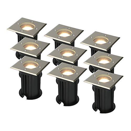 9x Ramsay dimbare LED grondspot vierkant RVS 5W 2700K IP67 waterdicht 3 jaar garantie