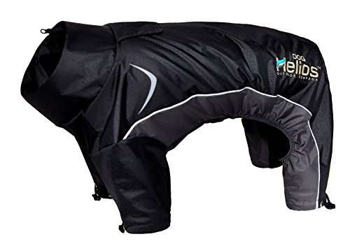 DOGHELIOS 'Blizzard' Full-Bodied Comfort-Fitted Adjustable and 3M Reflective Winter Insulated Pet Dog Coat Jacket w/ Blackshark Technology, Large, Black by DogHelios