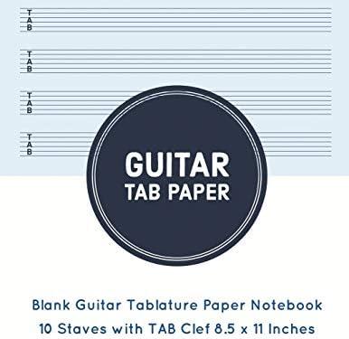 Guitar Tab Paper: Blank Guitar Tablature Paper Notebook 10 Staves ...