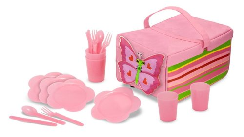 Melissa & Doug Sunny Patch Bella Butterfly Picnic Set With Basket, Plates, and Utensils by Melissa & Doug