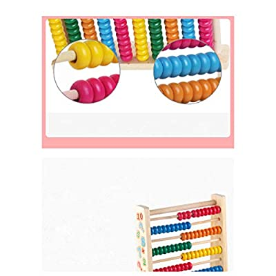 Exceart 10stalls Wooden Abacus Toy Math Calculation Toys Colorful Nontoxic Beads for Counting Early Education Kids Baby: Toys & Games