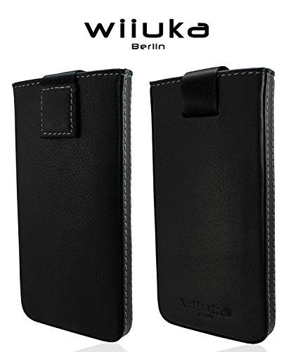WIIUKA Echt Leder Tasche iPhone 5 / 5S / SE Schwarz Rausziehband