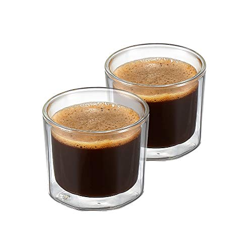 ZENS Espresso Glass Coffee Cups, 4 Ounce Double Wall Insulated Shot Glasses Mugs, Octagon Demitasse Cups Set of 2 for Lungo or Dessert (Demitasse Cup Only Flat)