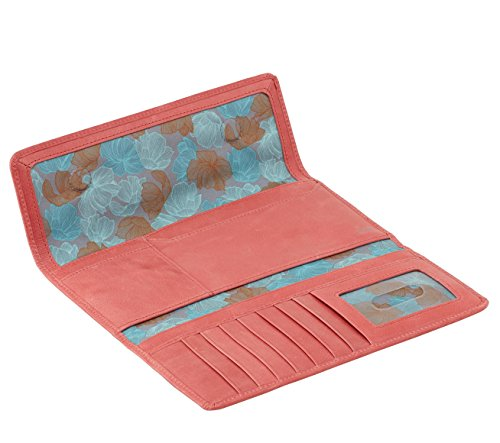 Hobo Womens Leather Sadie Continental Clutch Wallet (Coral)