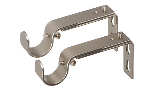 Ivilon Adjustable Brackets for Curtain Rods - for 7/8 or 1 Inch Rods. Set of 2 - Satin Nickel
