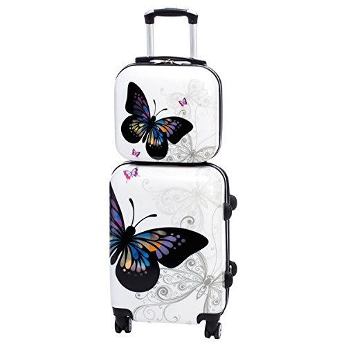 2 Piece Beige Hardcover Briefcase, Carry-on Spinner Luggage Set, Signature, Animal Pattern, Checkpoint-Friendly, Locking, Multi-Compartment, Rolling, Spinner, Telescoping Handle, Black, White - Exclusive Multi Compartment Expandable Briefcase