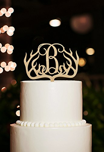 antler wedding cake toppers letter personalized rustic wood for wedding bridal shower gifts