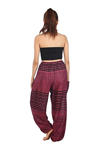 Rosa Streak Hippie De Harem Cintura Harén Mujeres Boho Lofbaz Cordón Pantaloni qRBzv6w