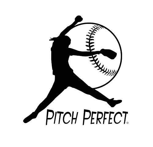 Fastpitch Softball-Pitch Perfect-Indoor Vinyl Wall Decal-Girls Softball-Unique Softball Gift-Young Girls Bedroom-Teenagers Playroom-Softball Mom-Youth or College Women Softball Enthusiast-BLACK ()