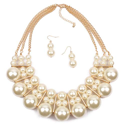 Thkmeet Womens Faux Big Multi Strand Pearl Bead Cluster Collar Bib Choker Necklace and Earring Set (Beige)