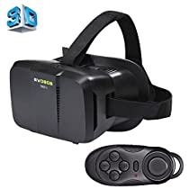 BOBO II Universal Virtual Reality 3D Video Glasses with Black Button Bluetooth Remote Controller for 4 to 6 inch Smartphones(Black)