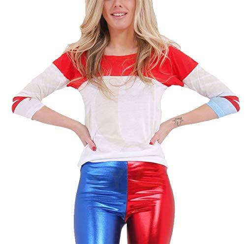 Blu Signore grandi Rosso Halloween In Bianco Bianco Piccole Rosso Maschera T Festa Blu Donne Superiori Portano Maglietta 21fashion 6I0UTxnwT