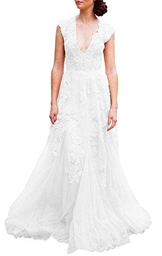 Erosebridal Weinlese Spitze Linie Weiß Hochzeitskleid Eine Frauen Brautkleider w7pqxwBv