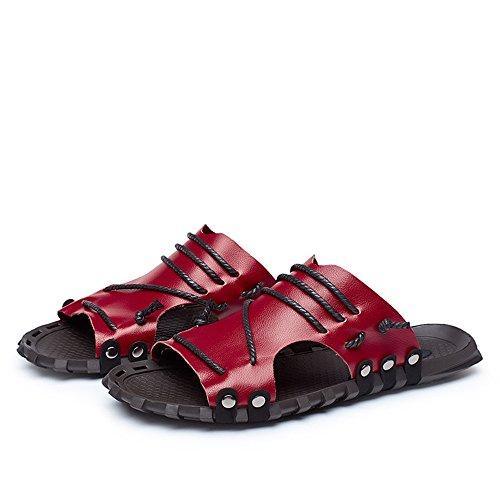 Playa los Red de la Hombres de del Sandalia Suela Genuino Superior de Deslizador con Secuencia del la de Cuero Decoración la la Antideslizante Bnq6H7q