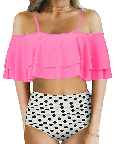Holipick Women Two Piece Ruffled Flounce Off Shoulder Tankini Top With Polka Dot Bottoms Swimsuits Set Pink L by Holipick (Image #1)