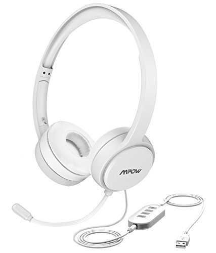 Mpow USB Headset/ 3.5mm Computer Headset with Microphone Noise Cancelling, Lightweight PC Headset Wired Headphones, Business Headset for Skype, Webinar, Phone, Call Center -